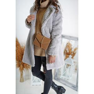 Šedý kožešinový kabát Nadya
