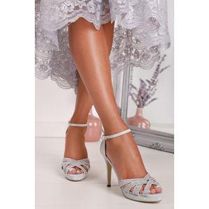 Stříbrné sandály na tenkém podpatku Turovio