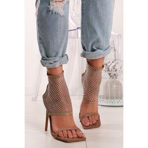 Béžové sandály na tenkém podpatku Eugenia