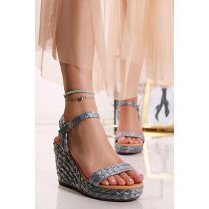 Modré platformové sandály Caroline