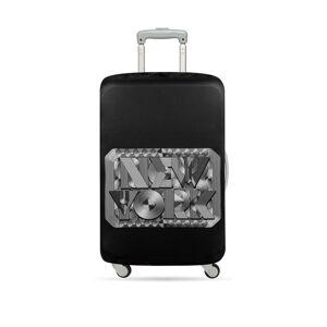 Černo-bílý potah na kufr Loqi Type New York Retro