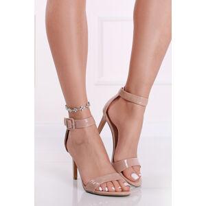 Světle růžové sandály na tenkém podpatku 2-28357