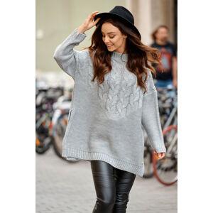 Světle šedý pulovr LS309