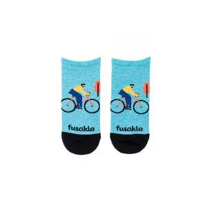 Světle modré kotníkové ponožky Cyklista v měste