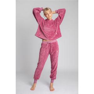 Růžové plyšové kalhoty LA004