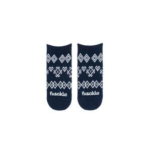 Tmavě modré vzorované kotníkové ponožky Modrotisk Čičmany