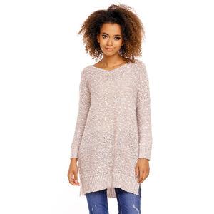 Světle hnědý prodloužený pulovr 70005