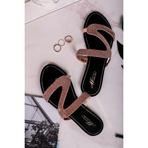 Růžovozlaté pantofle s kamínky Trudie